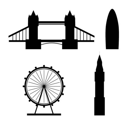 Silhouettes of London famous landmarks isolated on a white background. Flat style. Vector illustration