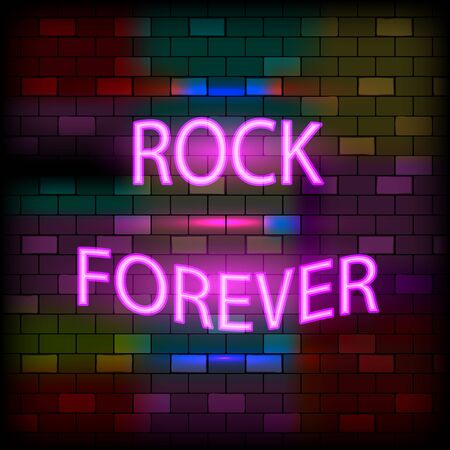 Vip neon icons concept. Neon Rock Forever Sign on the dark brick wall background. Flat style. Vector illustration