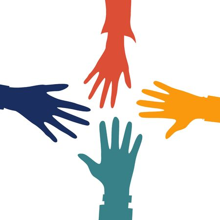 Helping Hands concept. Four Colorful Hands outstretched to each other. Flat style. Vector illustration Çizim