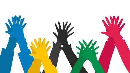Illustration of Hands Going for a High Five as a Group or Team. Flat style. Vector illustration