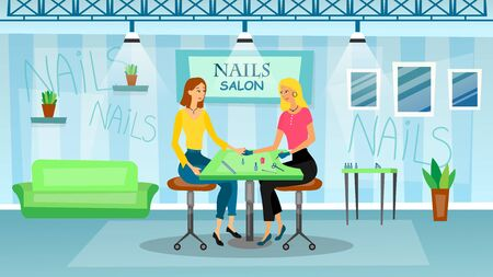 Manicure and pedicure salon interior concept. Woman is sitting on the chair and making professional manicure. Nail polish and painting. Beauty procedures. Flat style. Vector illustration