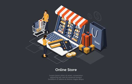 Isometric Online Store concept. Customers Order And Buy Goods Online. Online Gift Purchase, Gift Shop Application, Mobile Purchase Concept. Vector Illustration Vettoriali