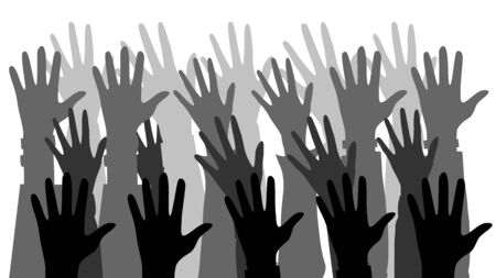 Lots of silhouettes of hands. An association unity partners company friendship. Flat style. Vector illustration