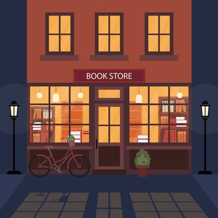 Bookshop, bookstore building facade. A lot of books on the shelves. Beautiful bicycle near the building. Literary shop. Flat style. Vector illustration