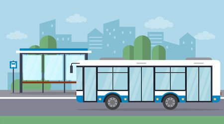 Bus Stop With Arriving Bus On The Cityscape Background. Flat style. Vector illustration