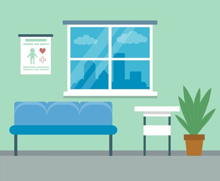 Healthcare and medicine concept. Modern empty medical clinic reception interior with furniture. Flat style. Vector illustration Ilustrace
