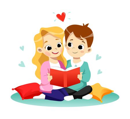 Children Education Concept. Happy Cute Cartoon Boy And Girl Are Reading The Book. Flat style. Vector Illustration Ilustração Vetorial
