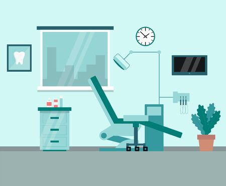 Modern Cabinet of Dentist, Cartoon Interior With Comfortable Chair, Surgical Light Unit, TV And The Window With Cityscape View. Orthodontics, treatment. Flat style. Vector illustration