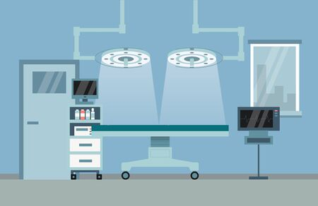 Healthcare And Medicine Concept. Medical Operation Room Equipment And Accessories With Monitors, Treatment Table And Major Surgery Light. Flat Style. Vector Illustration Vector Illustration