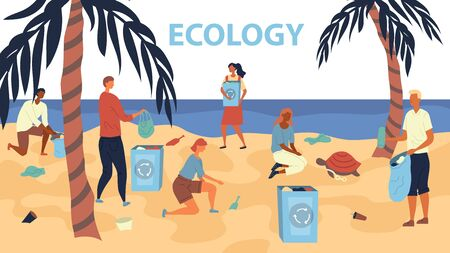 Ecology Protection Concept. Volunteers are Collecting Trash into Bags on the Beach. Pollution of Seaside with Different Kinds of Garbage. Flat Style. Vector Illustration Ilustração