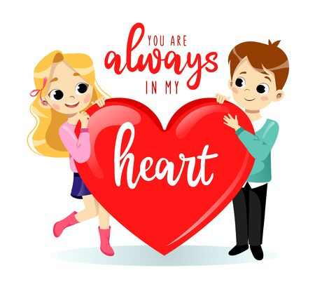 Valentines day concept. Cartoon Young Couple in love Man and Woman are Holding a Big Heart. Isolated on the White Background With Place For Text. Flat Style. Vector illustration Çizim