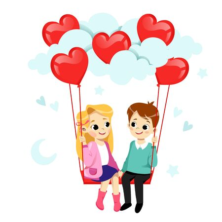 Happy Valentine s Day Greeting Card Concept. Couple In Love Is Flirting And Smiling. Boy And Girl Are on The Swing With Air Balloons In Heart Shape. Flat Style. Vector Illustration.