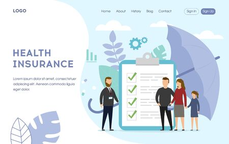 Healthcare family insurance concept. People with doctor on the abstract background, insurance policy, big umbrella. Can use for landing page, template, ui, web, banner. Flat style. Vector Illustration