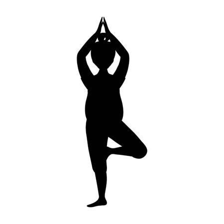Black Woman Silhouette in Yoga Pose Isolatd on the White Background. Flat Style. Vector Illustration. Çizim