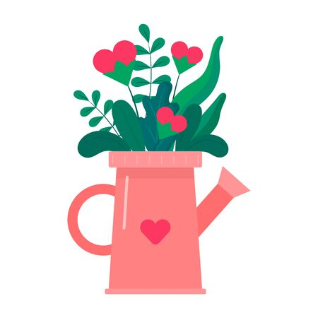 Collection of Colorful Flowers with Hearts in Watering Can Isolated On The White Background. Flat Style. Vector Illustration