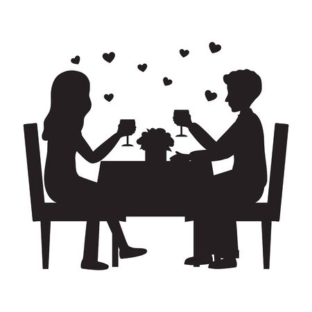 Black Silhouette of Man and woman are in the restaurant on the romantic date. Couple in love. People sitting at the table with a glass of wine. Romance relationship. Flat style. Vector illustration Иллюстрация