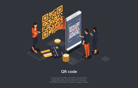 Isometric Qr Code Verification Concept. Man is Scanning the Qr Code By Mobile Phone. Hi Tech Technologies. Vector Illustration.