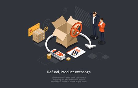 Isometric Illustration of Product Refund Or Exchange. The Process of Taking Product Back. Retail Process When the Customer Exchange Goods to Finance. Scene of Cancel Deal With Money back.