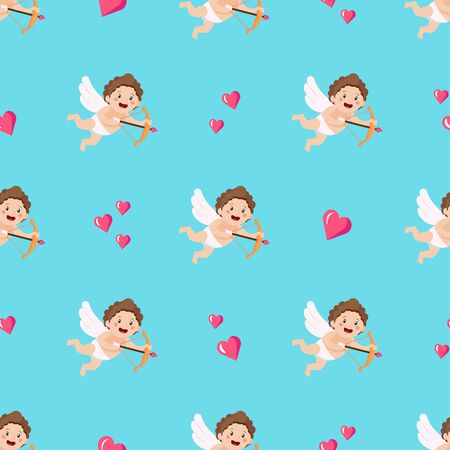 Cartoon Cupids are Holding Bows and Shooting Arrows. Seamless Pattern. Backdrop With Cute Angels, Symbolizing Romantic Love and Passion. Flat style. Vector Illustration