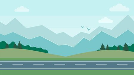Cute cartoon horizontal mountain landscape With the Road. Beatiful nature concept. Flat Style. Vector Illustration