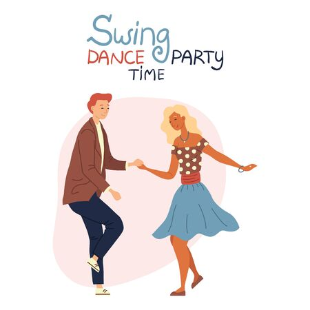 Swing Dance Party Time Concept Isolated On The White Background. Young Pretty Couple is Dancing Swing, Rock and Roll or Lindy Hop. Flat Style. Vector Illustration