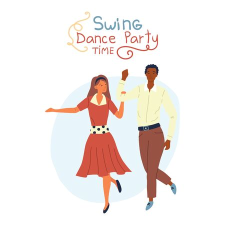 Swing Dance Party Time Concept. Young Pretty Couple is Dancing Swing, Rock and Roll or Lindy Hop on Abstract Background. Flat Style. Vector Illustration
