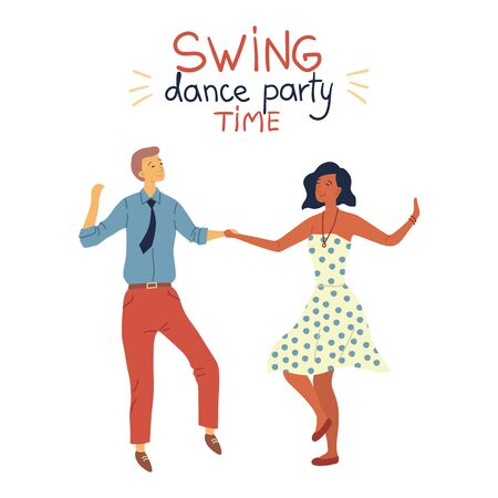 Swing Dance Party Time Concept. Cool Pretty Couple is Dancing Swing, Rock and Roll or Lindy Hop on Abstract Background. Flat Style. Vector Illustration