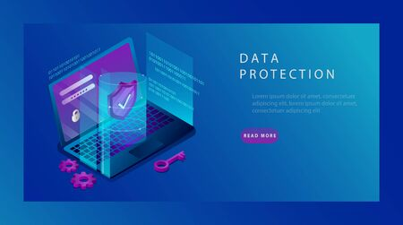Isometric Protection Network Security and Safe Data Concept. Landing Page Design Templates of Cybersecurity. Digital Crime by an Anonymous Hacker. Vector illustration