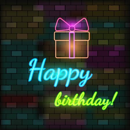 Vip Neon Icon. Cute Vip Neon Happy Birthday Inscription With Gift Box On The Dark Brick Wall Background. Flat Style. Vector Illustration. Banque d'images - 138460274