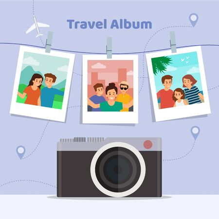 Happy Vacations Concept. Travel Album of a Happy Family From the Vacations on the Abstract Background With Retro Camera and Landmarks. Flat Style. Vector illustration.