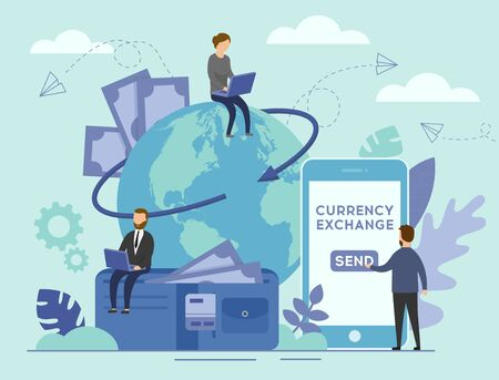 Currency Exchange Concept. Flat Tiny Business Persons on the Planet Earth Background With Big Smartphone and Wallet. Economical process to trade euro, dollar, or yen. Flat Style. Vector Illustration.