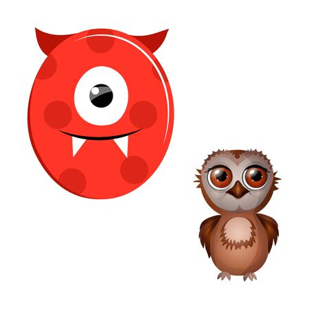 Vector Cute Childish Cartoon English Alphabet. Letter O With Owl. The Letter Like Little Monster. Flat style. Vector illustration.