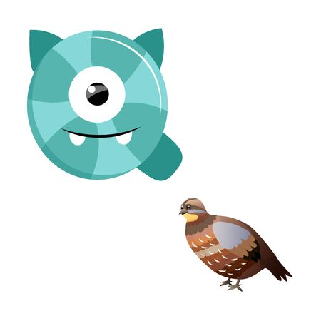 Vector Cute Childish Cartoon English Alphabet. Letter Q With Quail. The Letter Like Little Monster. Flat style. Vector illustration.