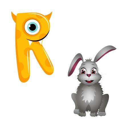 Vector Cute Childish Cartoon English Alphabet. Letter R With Rabbit. The Letter Like Little Monster. Flat style. Vector illustration Ilustração