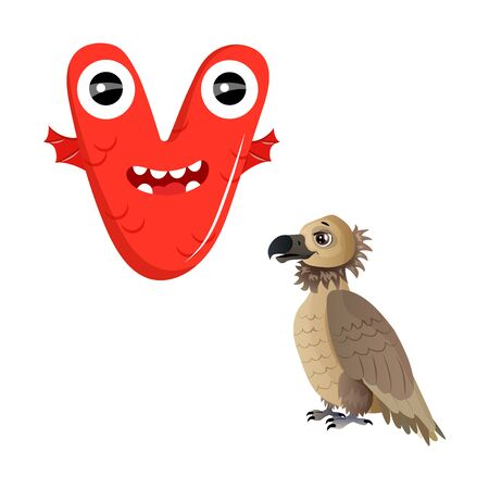 Vector Cute Childish Cartoon English Alphabet. Letter U With Unicorn. The Letter Like Little Monster. Flat style. Vector illustration.
