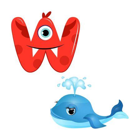 Vector Cute Childish Cartoon English Alphabet. Letter W With Whale. The Letter Like Little Monster. Flat style. Vector illustration. Ilustração