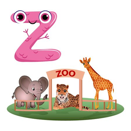Vector Cute Childish Cartoon English Alphabet. Letter Z With Zoo. The Letter Like Little Monster. Flat style. Vector illustration