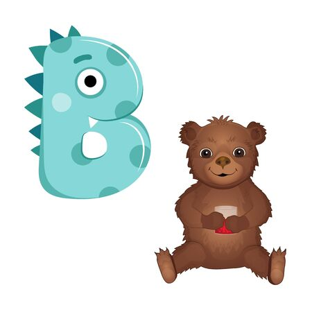 Vector Cute Childish Cartoon English Alphabet. Letter B With teddy bear. The Letter in the Little Monster Style. Flat style. Vector illustration