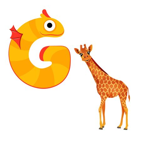Vector Cute Childish Cartoon English Alphabet. Letter G With Giraffee. The Letter Like Fictional Character. Flat style. Vector illustration