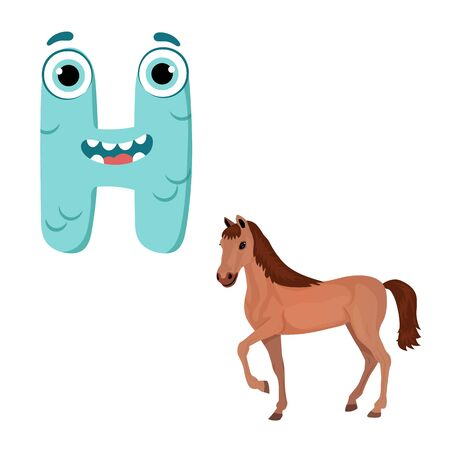 Vector Cute Childish Cartoon English Alphabet. Letter H With Horse. The Letter Like Little Monster. Flat style. Vector illustration Ilustração