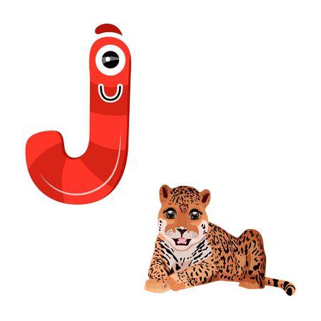 Vector Cute Childish Cartoon English Alphabet. Letter J With Jaguar. The Letter Like Little Monster. Flat style. Vector illustration Ilustração