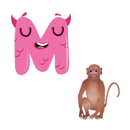 Vector Cute Childish Cartoon English Alphabet. Letter M With Monkey. The Letter Like Little Monster. Flat style. Vector illustration