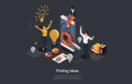 Isometric Concept Of Research and Develop Of Mobile Application. Business people, Man and Women are Working on the Idea of Mobile Application. Vector illustration. Ilustracja