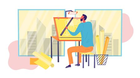 Engineer Architect is Working on Draft Project on Drawing Board. Create of Architecture Drafting Concept. Office Person Projecting Professional Plan. Flat Style. Vector Illustration. Ilustracja