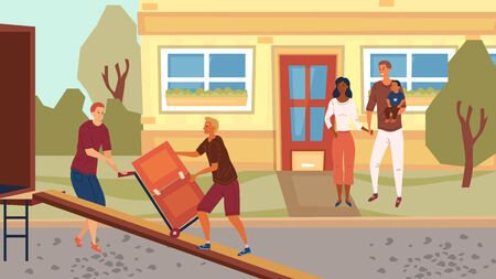 Moving and Real Estate Concept. Young Couple is Moving into a New House, Employee are Unloading the Furniture From Service Truck. Flat Style. Vector illustration Illusztráció