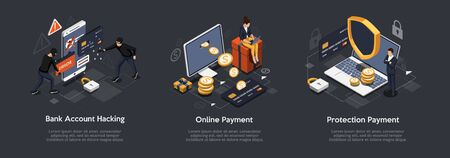 Isometric Set of Bank Account Hacking, Online Payment, Protection Payment. Security Payments and Transactions Concept. Vector Illustration