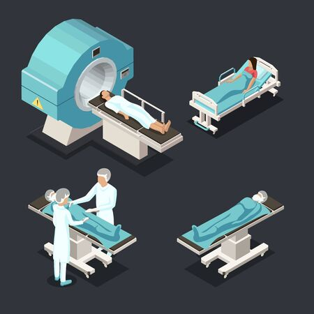 Isometric Medical MRI Scanner Imaging Process with Doctor and Patients. Healthcare and Medicine Concept. Vector illustration