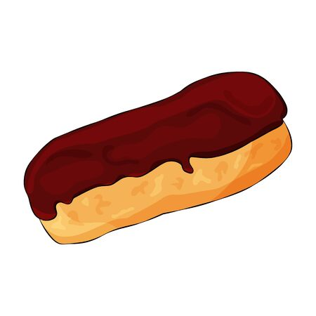 French Appetizing Eclair With Chocolate Glaze Isolated On the White Background. Cartoon Flat Style. Vector Illustration