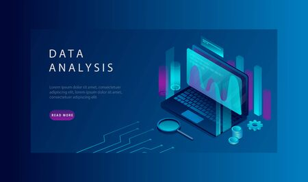 Isometric Data Analysis and Corporate Strategy Concept. Landing Page Template Of Process Of Data Analysis. Vector Illustration