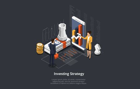 Isometrische Anlagestrategie-Konzept. Frau macht Geschäftsmann ein Angebot für Portfolio-Investitionen. Vektor-Illustration